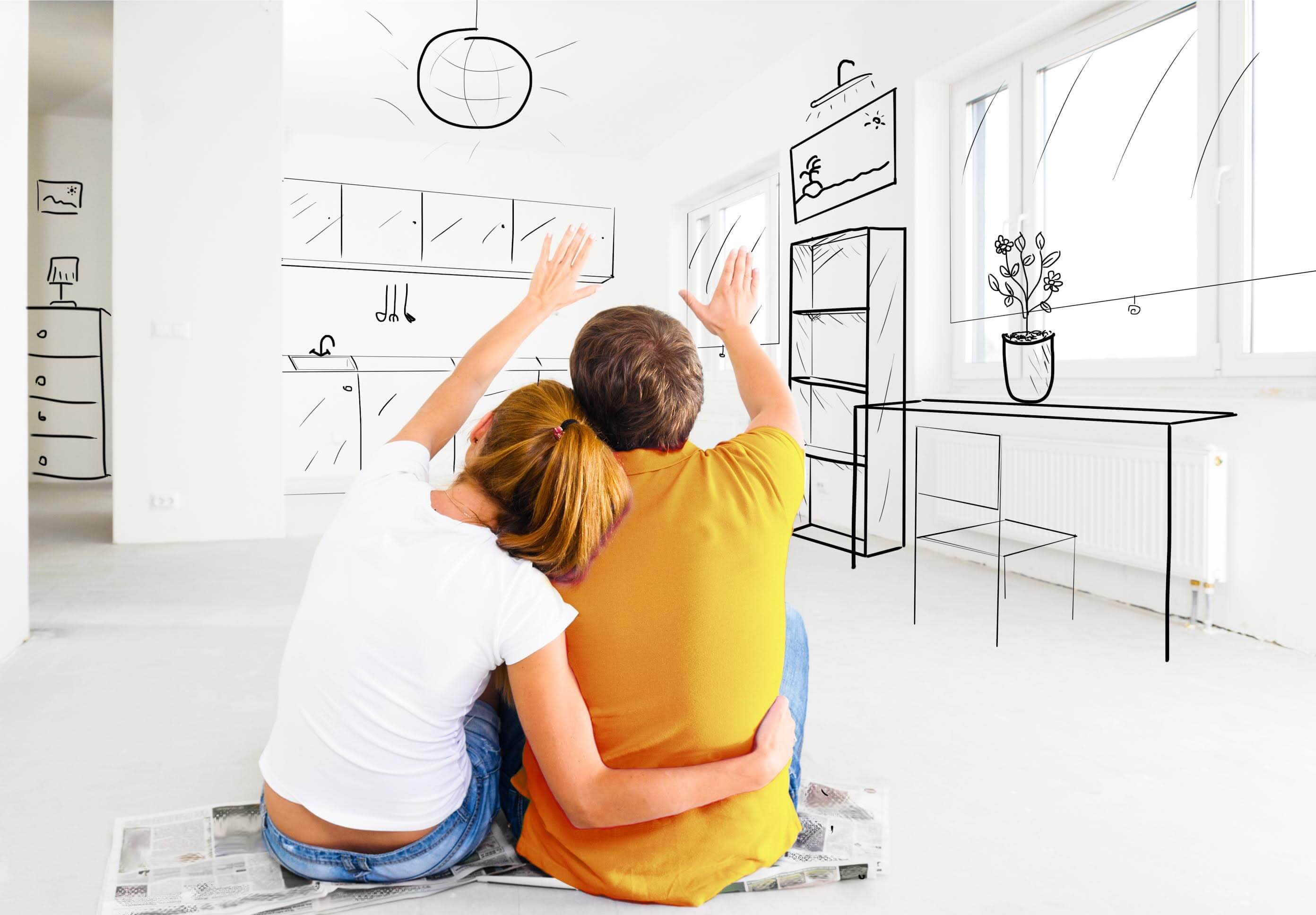 Couple planning their new house